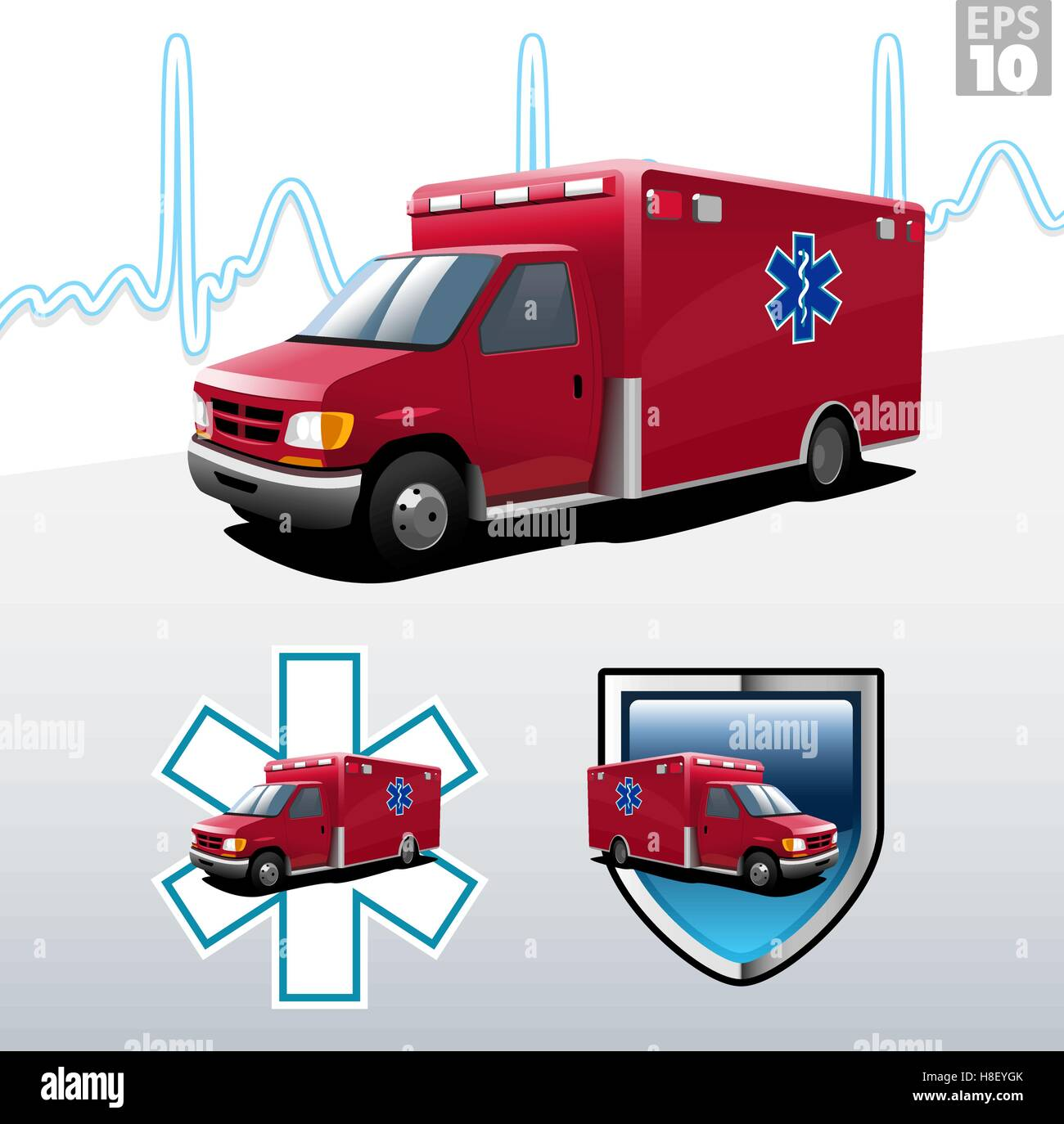 Ambulance with heart beat background, protection and EMT paramedic symbols - Stock Image