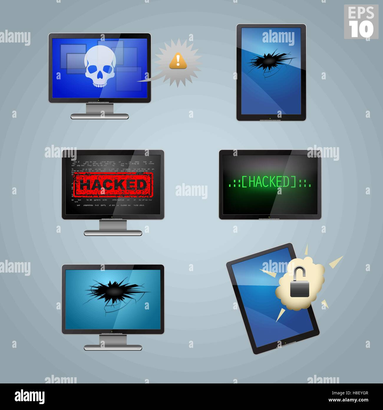 Computers and tablets hacked, broken, and infected - Stock Vector
