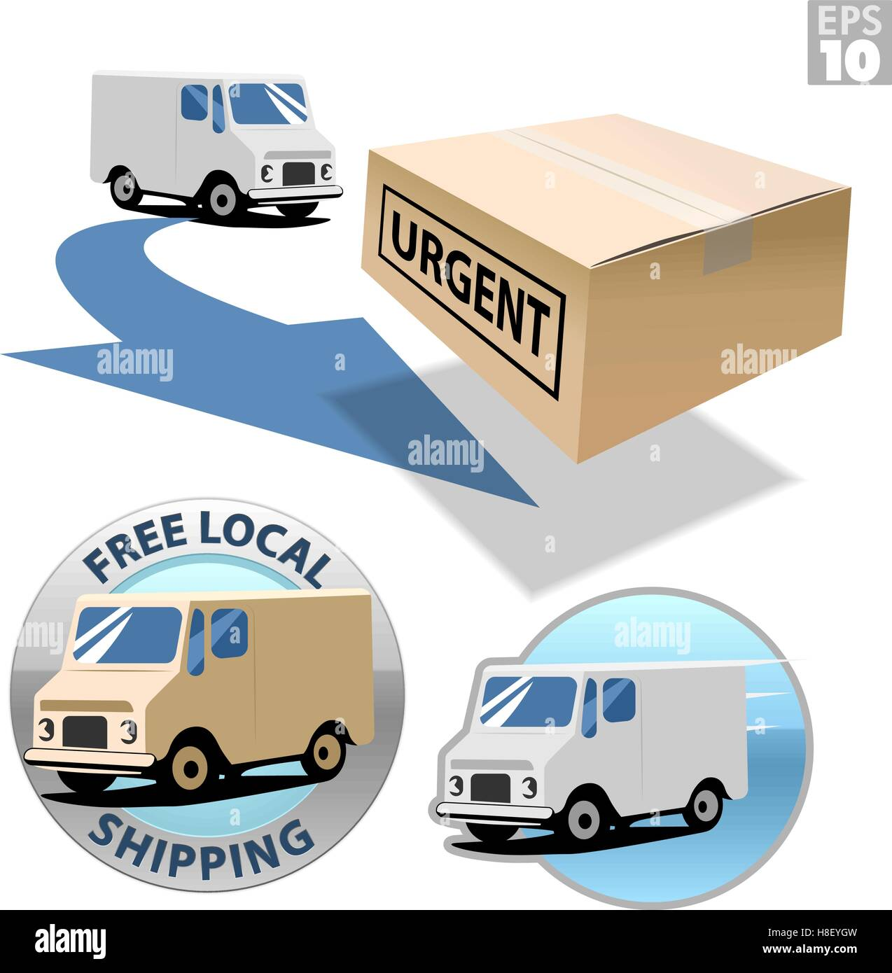 Delivery truck with urgent box, free local shipping, fast delivery - Stock Image