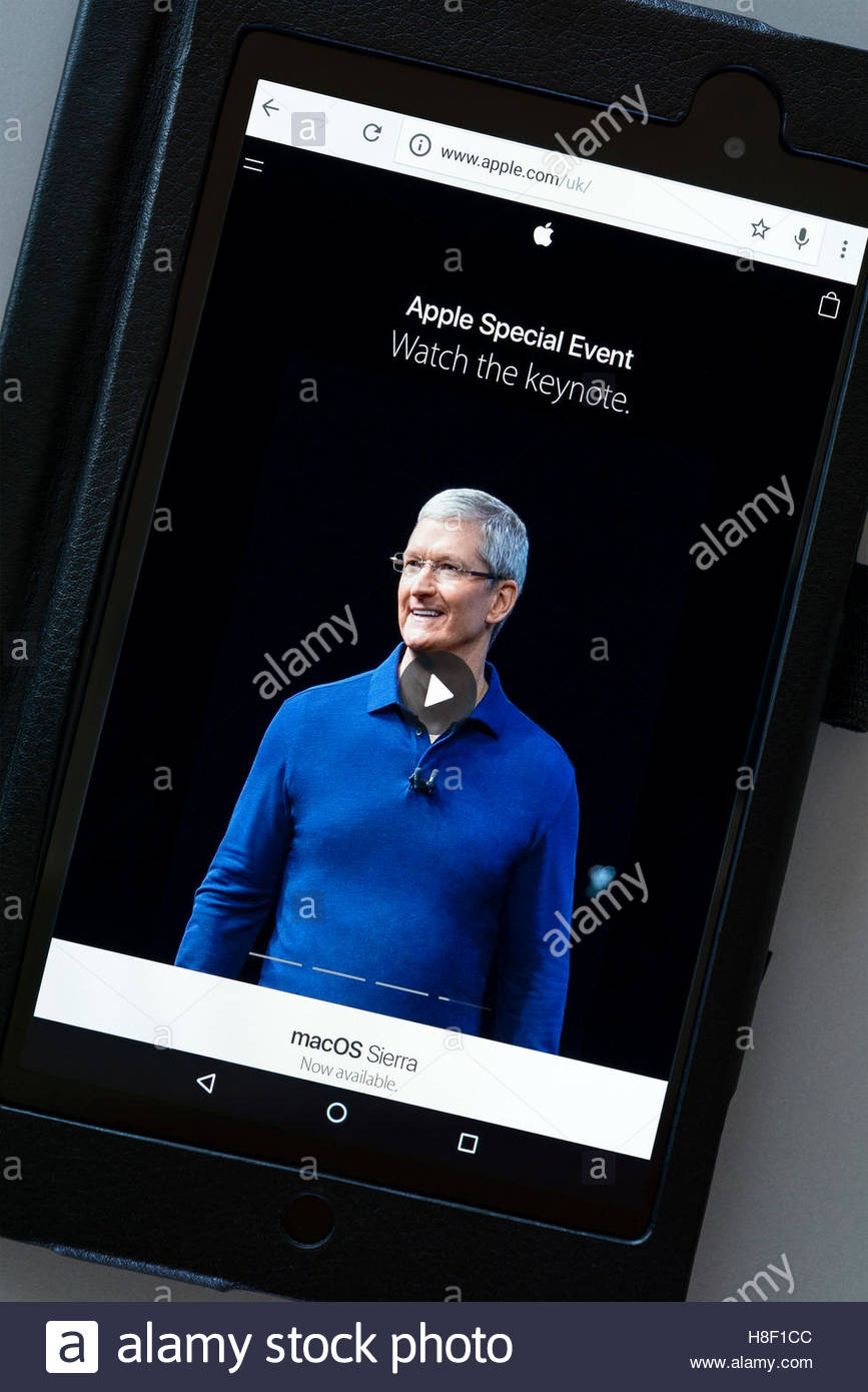 Apple special event shown on a tablet computer, Dorset, England, UK - Stock Image