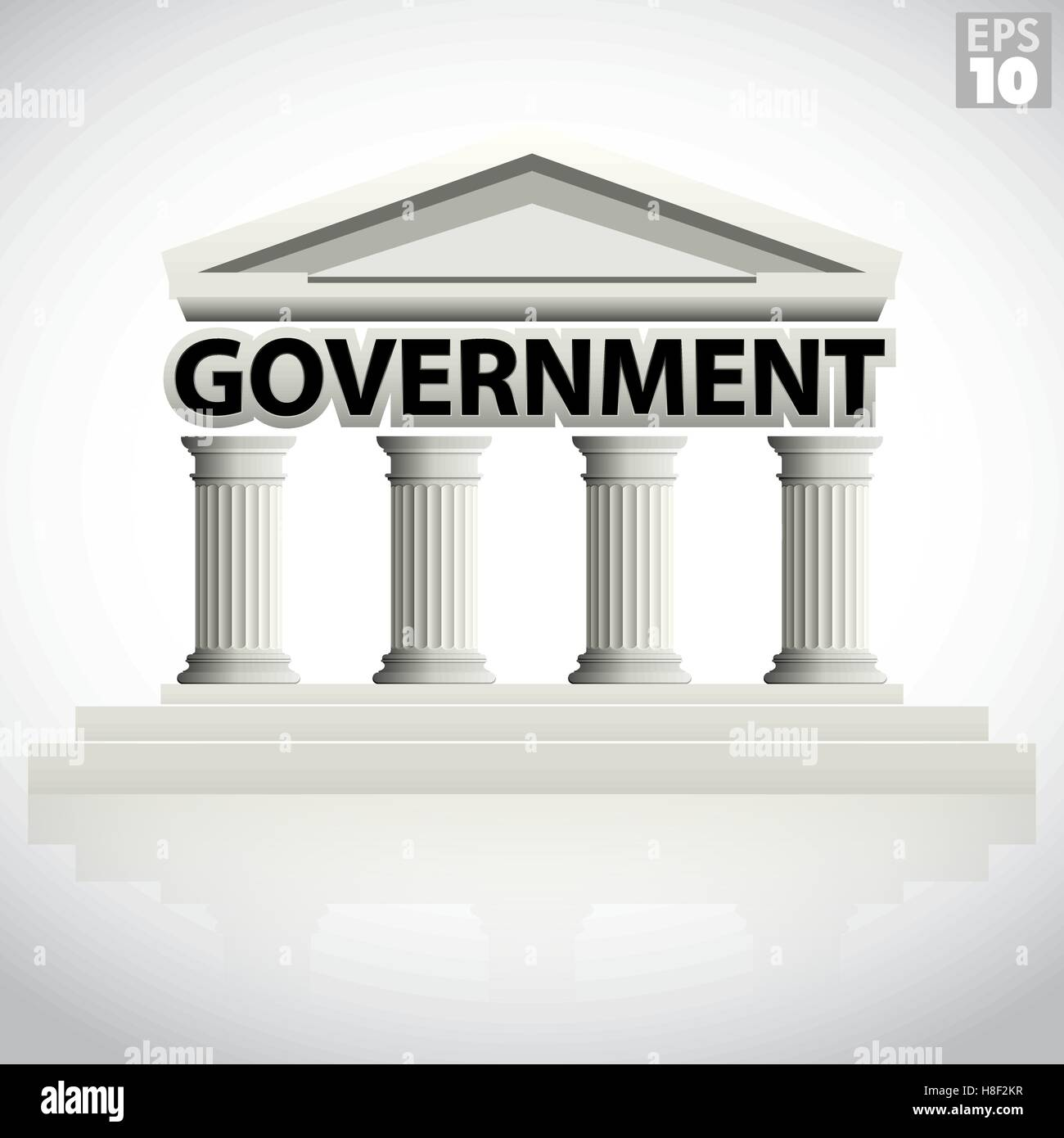 Government building icon with greek columns and pointed pediment - Stock Vector