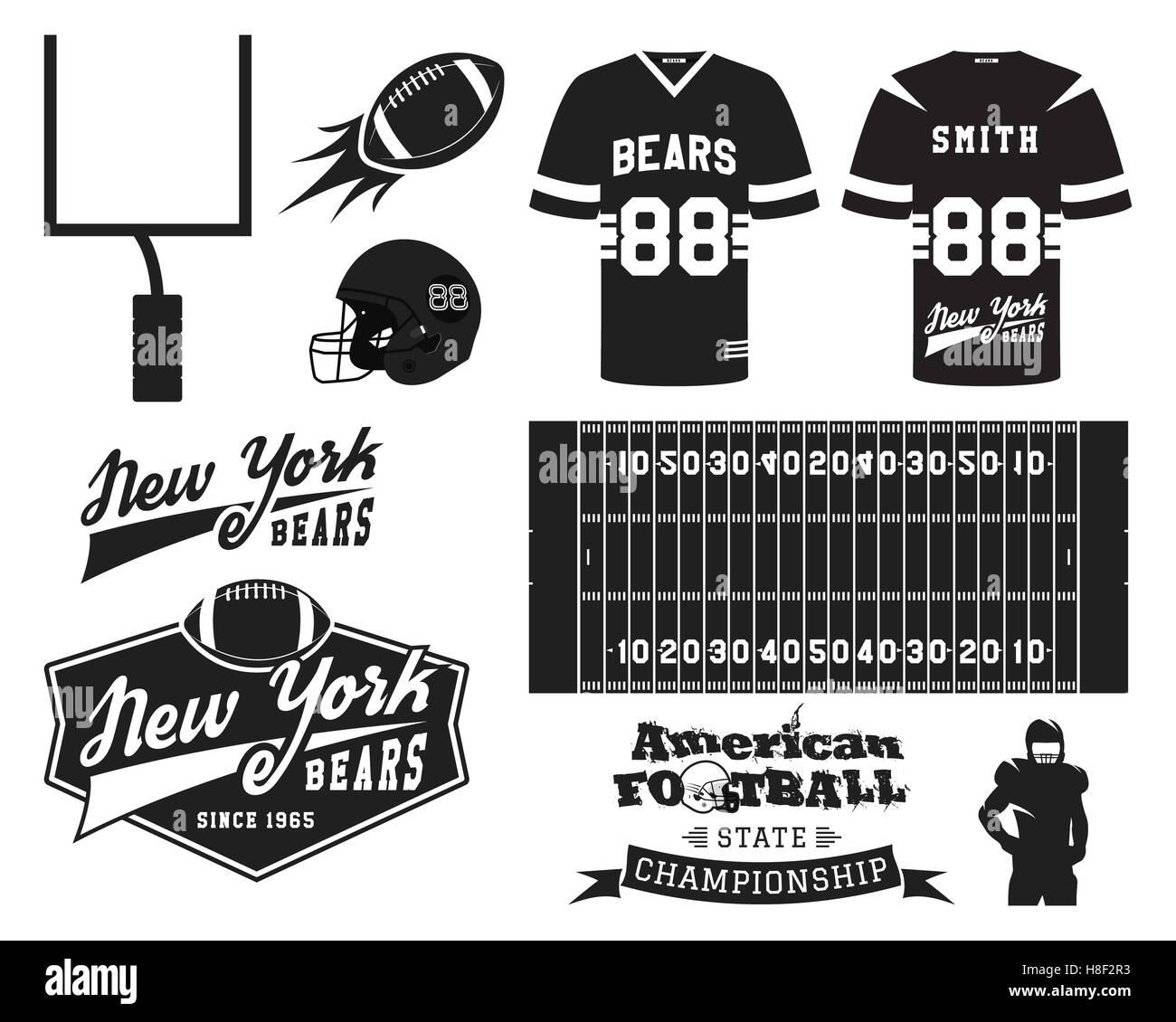American football uniform, t-shirt design with team logo, label