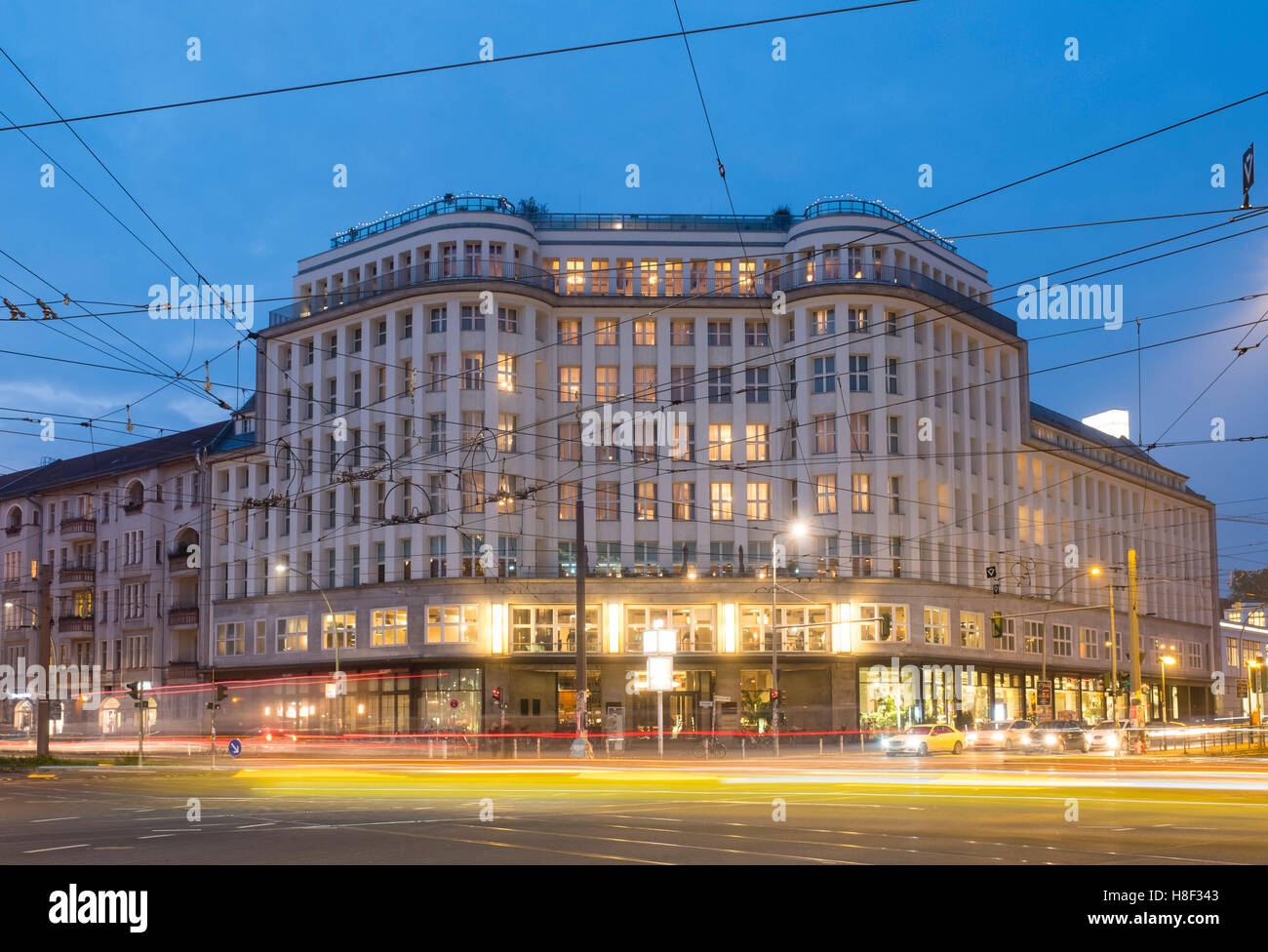 Exterior night view of Soho House Hotel and Private members Club in Mitte Berlin , Germany - Stock Image