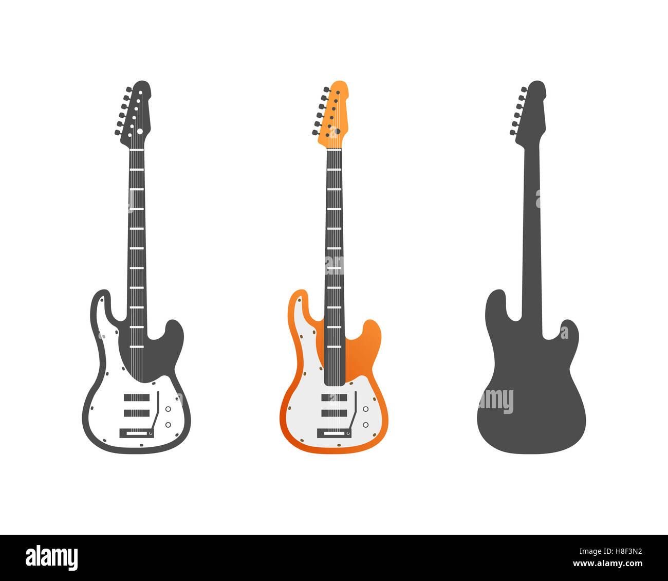 Electric Guitars Icons Set Musical Instrument Symbols Illustration