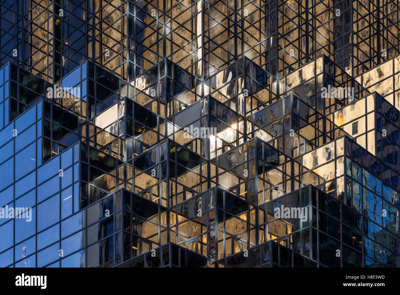 Architectural detail of the facade of Trump Tower with glass windows and terraces. Midtown Manhattan, New York City - Stock Image