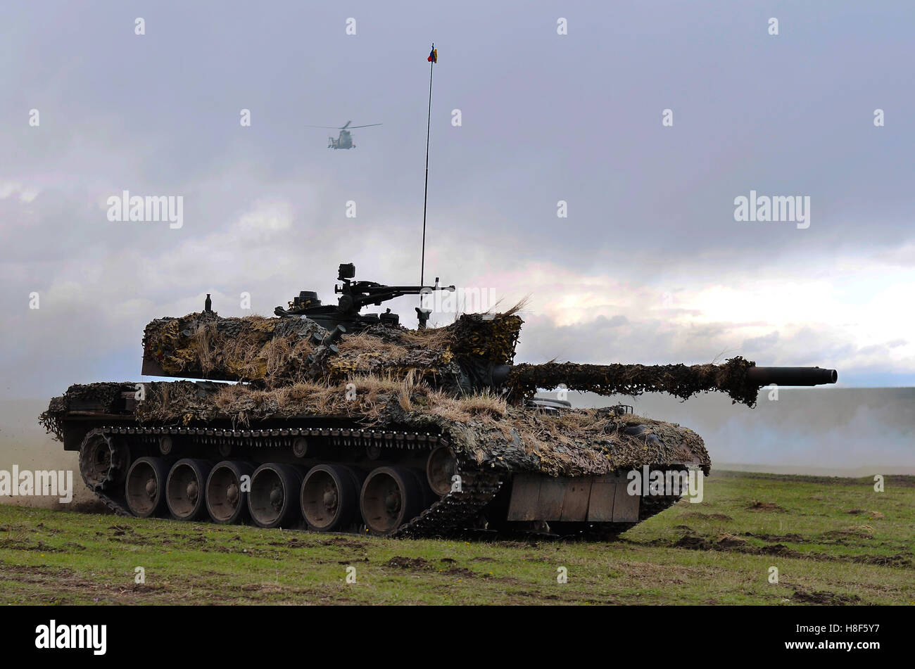 Romanian tanks TR-85M1 in military polygon in the exercise Wind Spring 15 on Galati, Romania, 22 apr - Stock Image