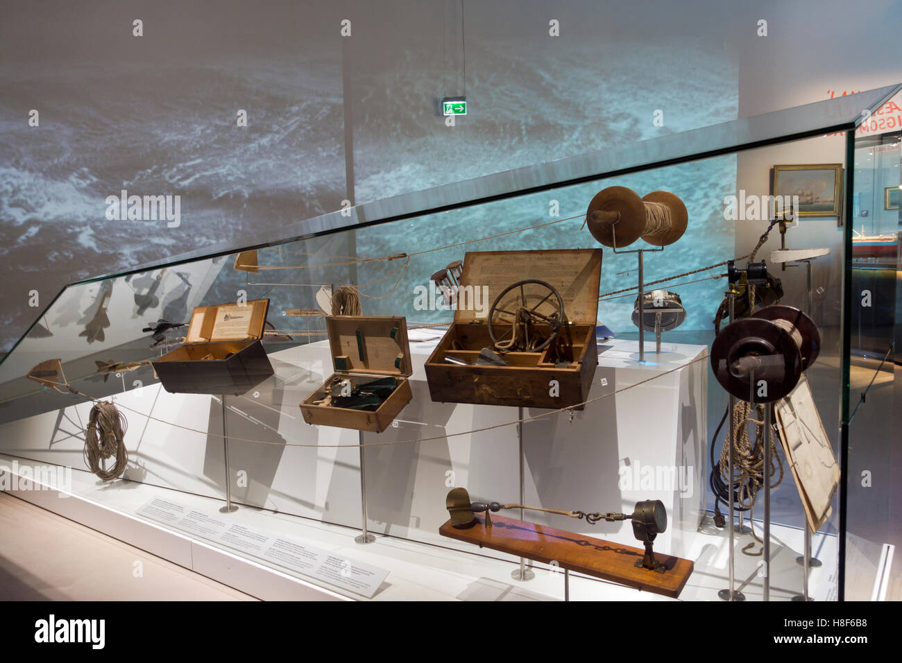 Historic nautical and navigational instruments at the Danish Maritime Museum (M/S Museet for Søfart) in Elsinore - Stock Image