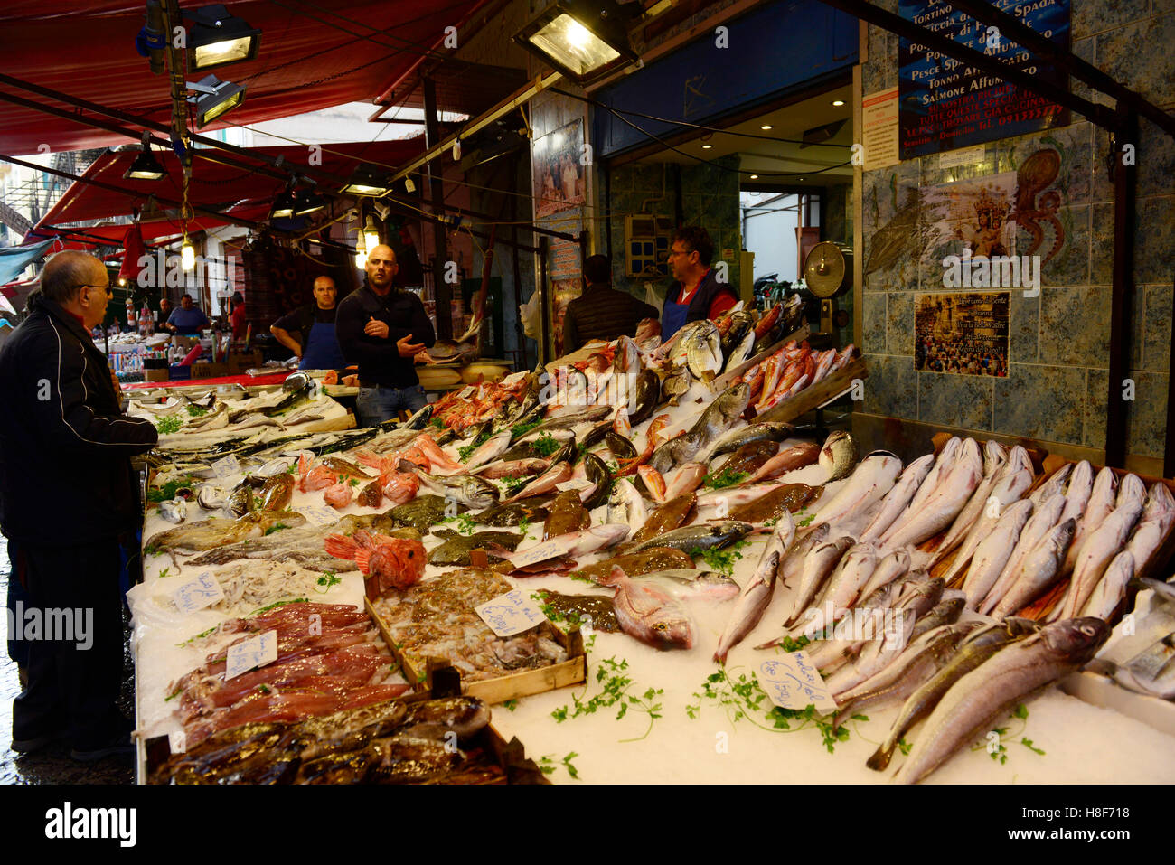 Fresh fish and seafood at the Palermo market. - Stock Image