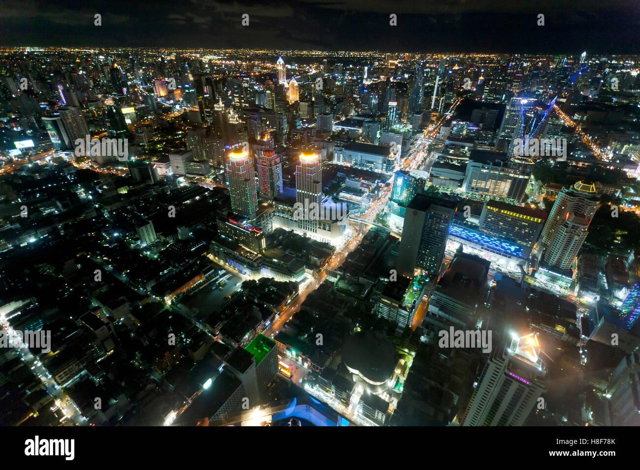 Bangkok skyline at night, Bangkok, Thailand - Stock Image