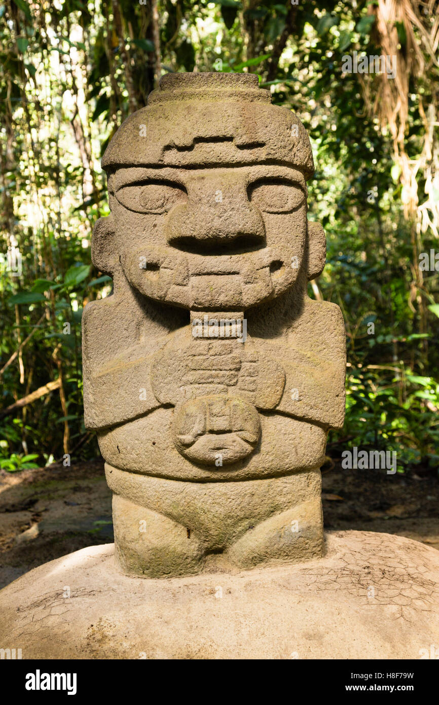 Pre-Colombian Funeral Sculptures of San Agustin, megalith, Parque Archeologico, San Agustin, Huila, Colombia - Stock Image