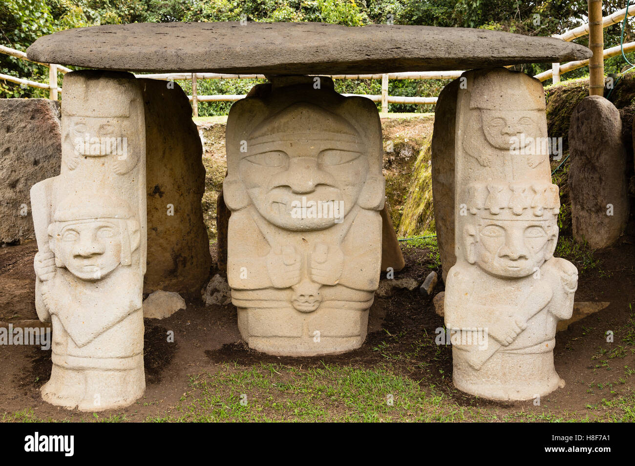 Pre-Colombian Funeral Sculptures of San Agustin, megaliths, Parque Archeologico, San Agustin, Huila, Colombia - Stock Image