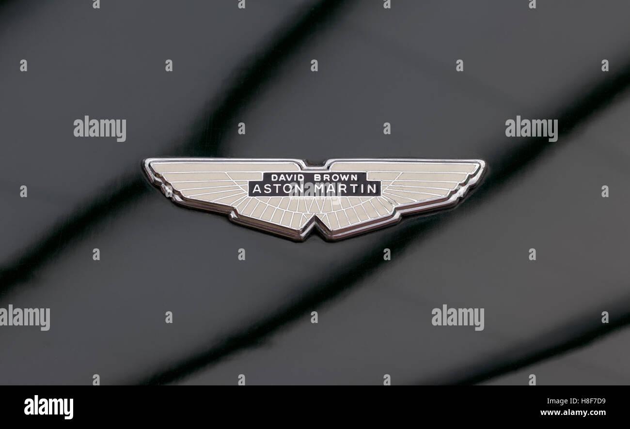 David Brown Aston Martin emblem on a V8 Vantage, British classic sports car Stock Photo