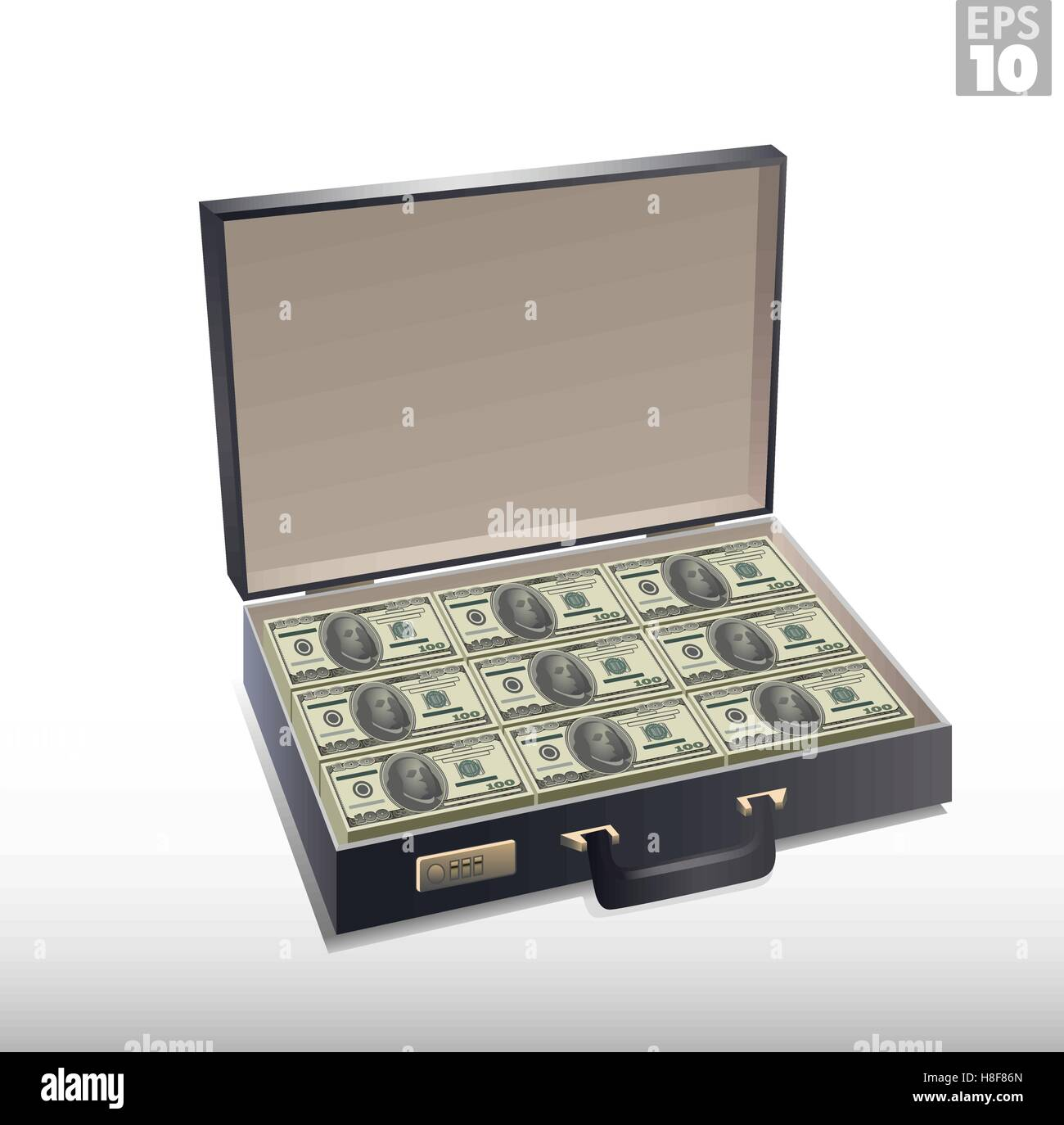 Briefcase full of money, with stacks of hundred dollar bills - Stock Vector