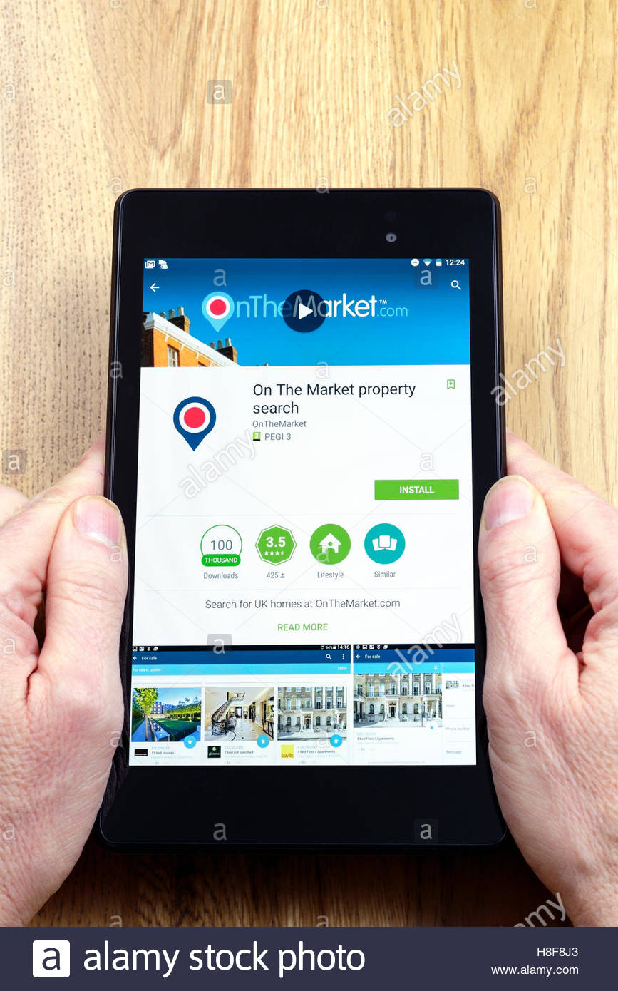 Online real estate portal On The Market, app on an android tablet PC