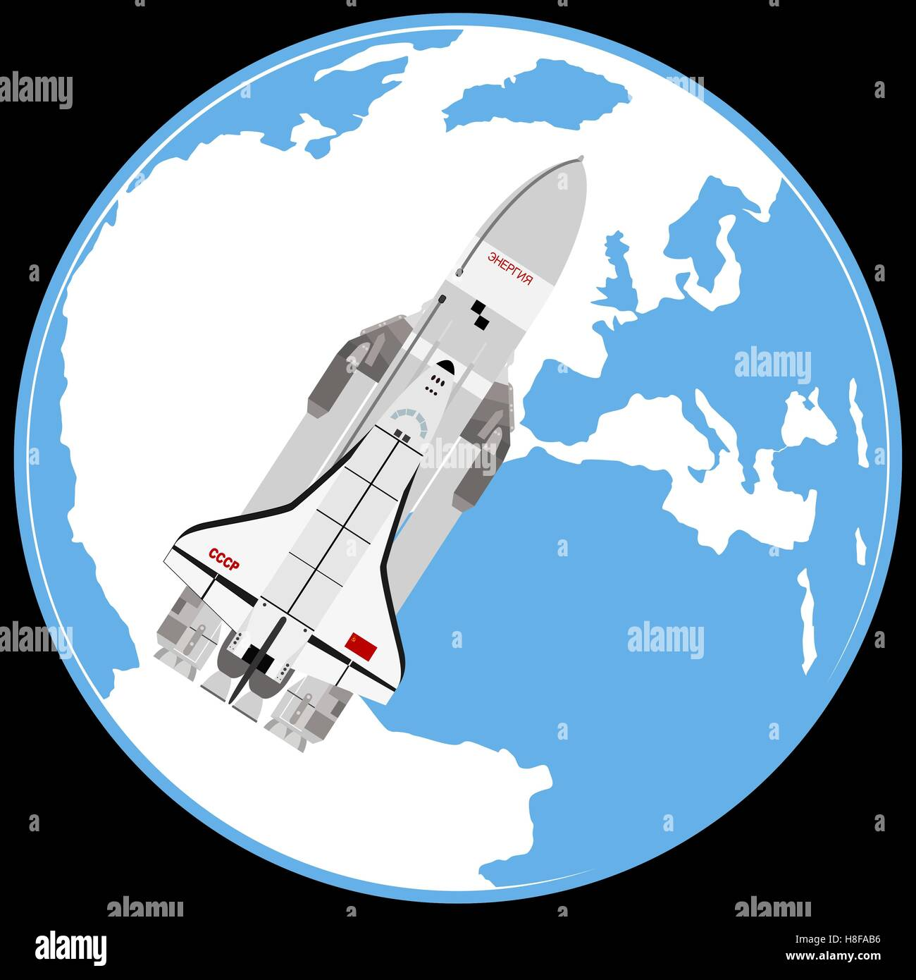 Multi-purpose aerospace system 'Buran' on the background of the Earth. The illustration on a white background. - Stock Image
