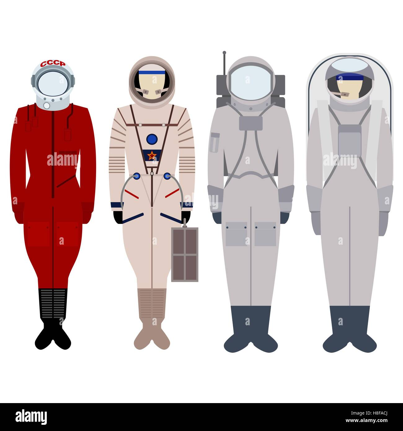 Spacesuit for spacewalk. Illustration on white background - Stock Image