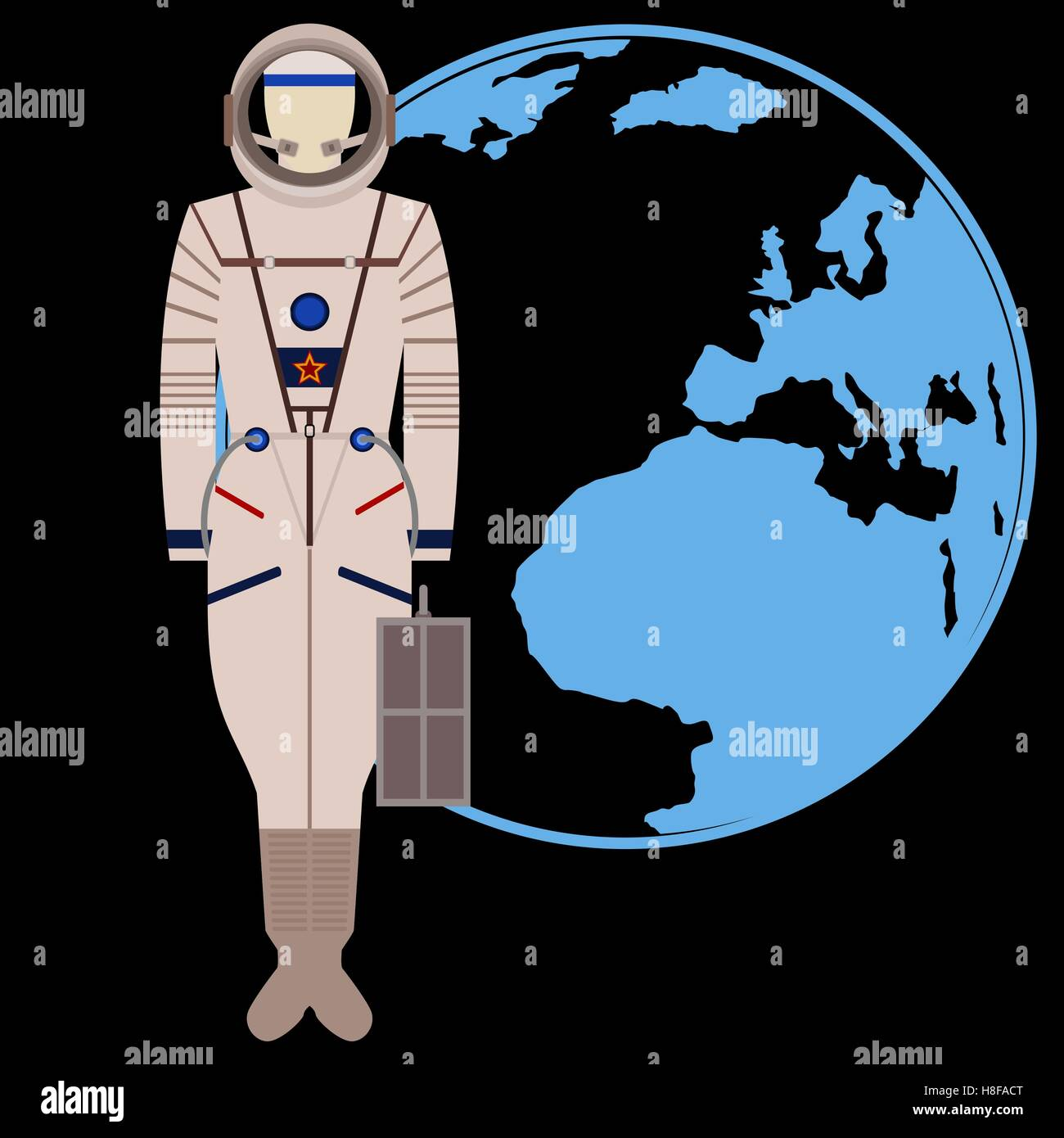 The space suit on the background of the Earth. The illustration on a black background. - Stock Image