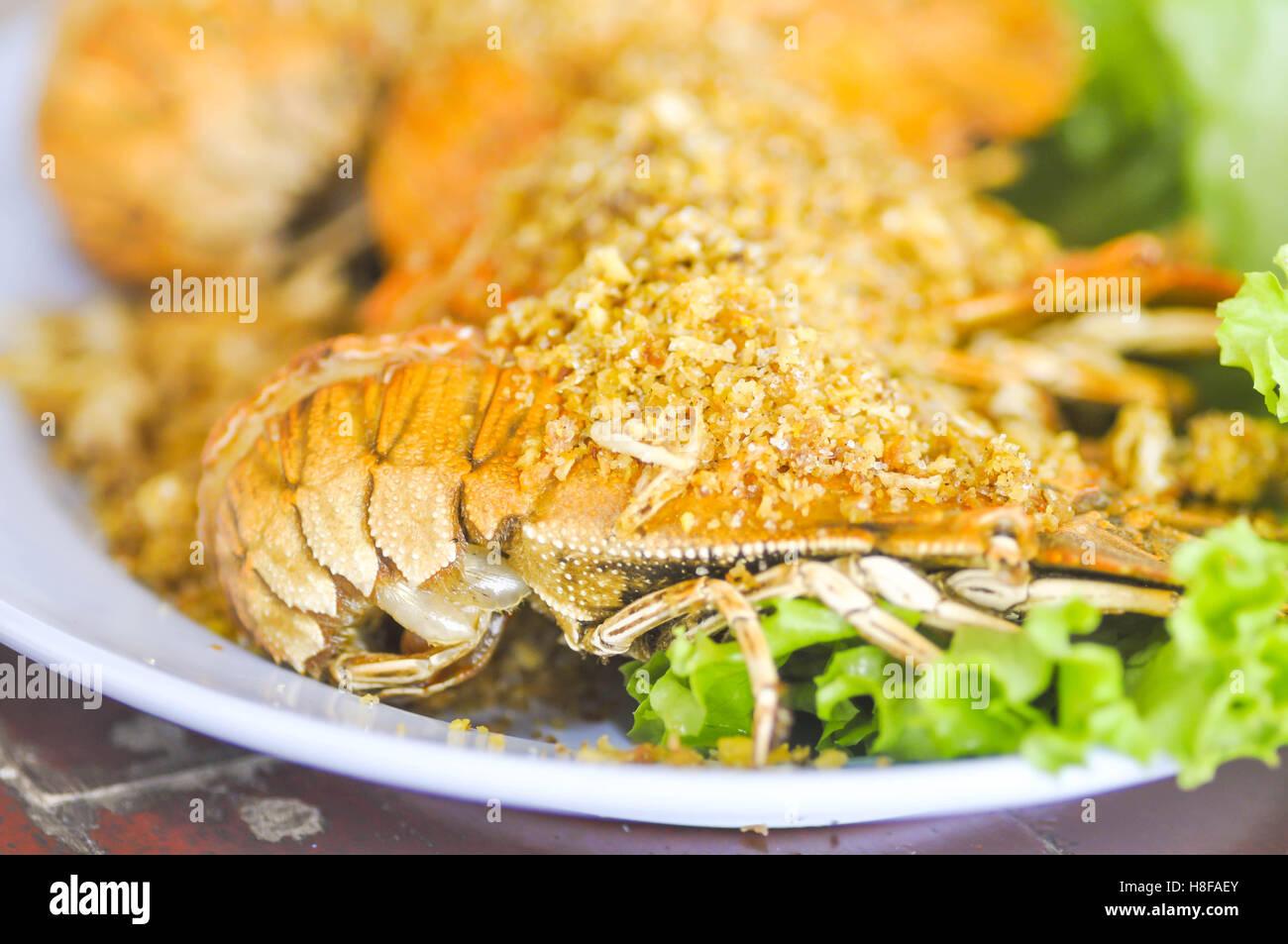 fried mantis shrimp dish or fried crayfish dish - Stock Image