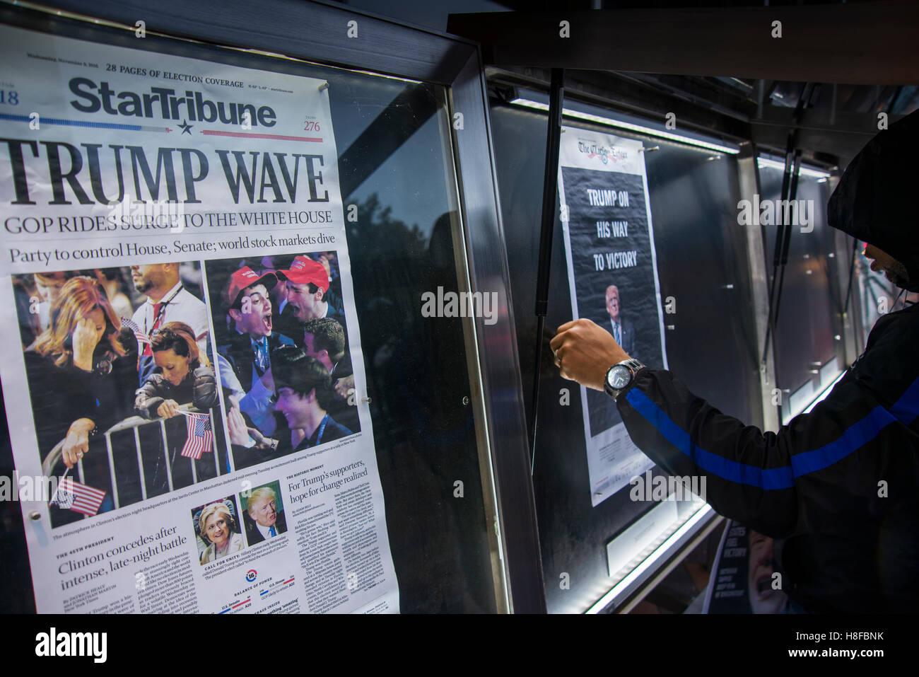 Nov9, 2016 Newspapers with Headlines being put up early morning after election night. Donald Trump wins the election - Stock Image