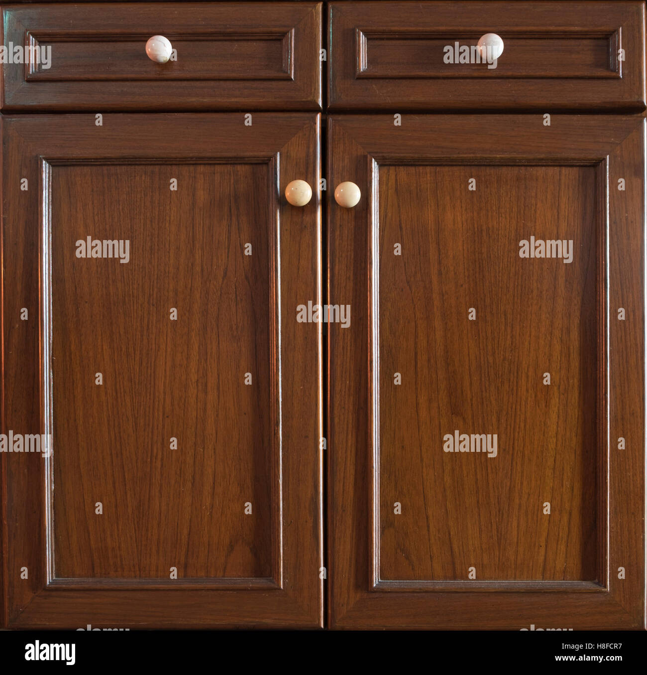 Front Kitchen Wooden Frame Cabinet Door And Drawers Made From Dark Wood,  Background And Texture