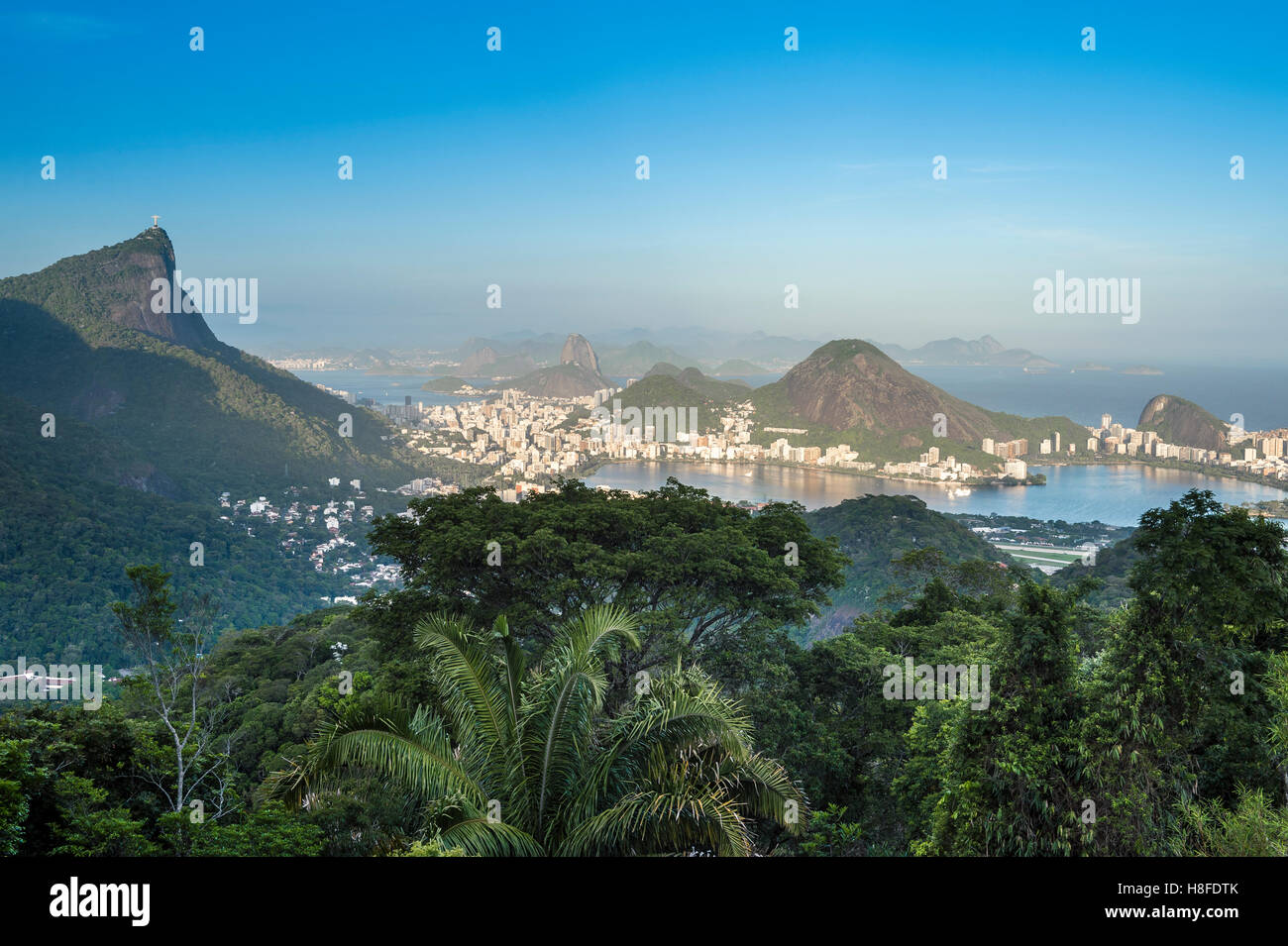 View of the dramatic natural skyline from the surrounding jungle at the Vista Chinesa scenic overlook in Rio de Stock Photo