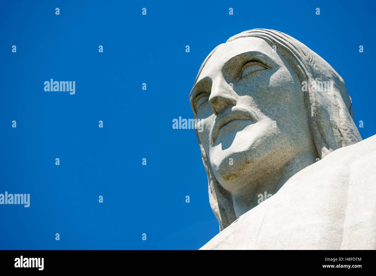RIO DE JANEIRO - MARCH 21, 2016: The face of the statue of Christ the Redeemer, one of the city's most recognizable - Stock Image