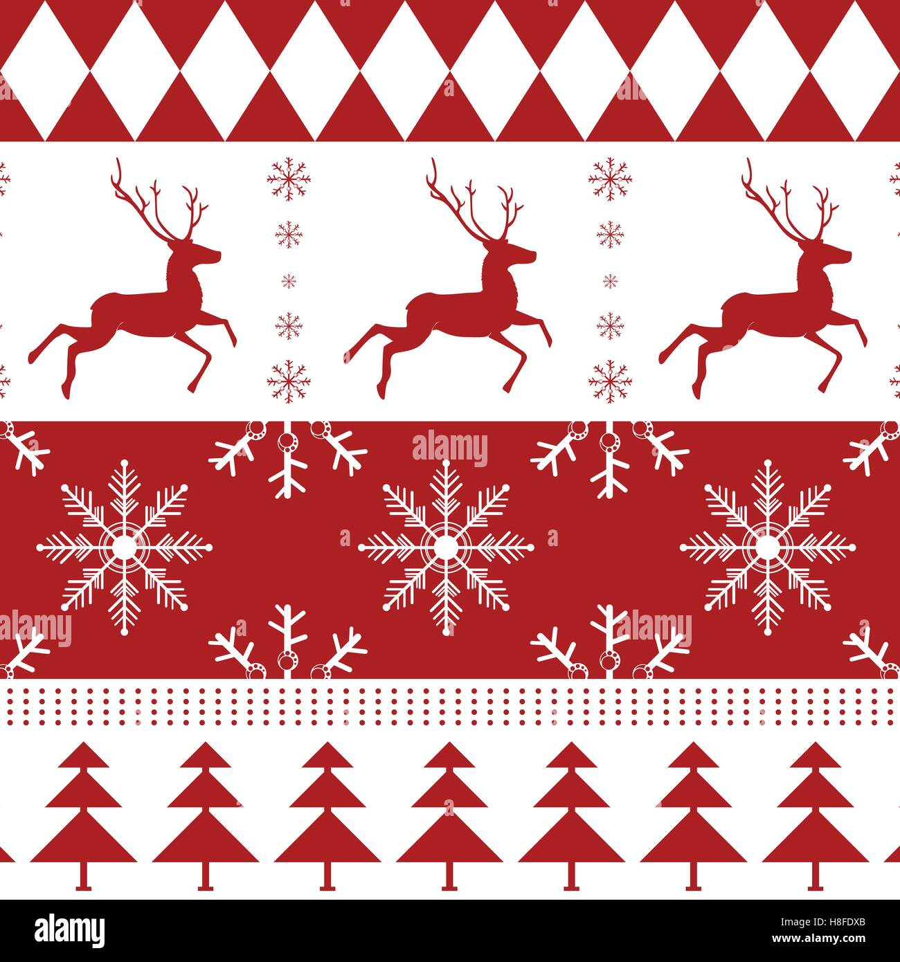 snow christmas reindeer christmas tree flake vector year stock