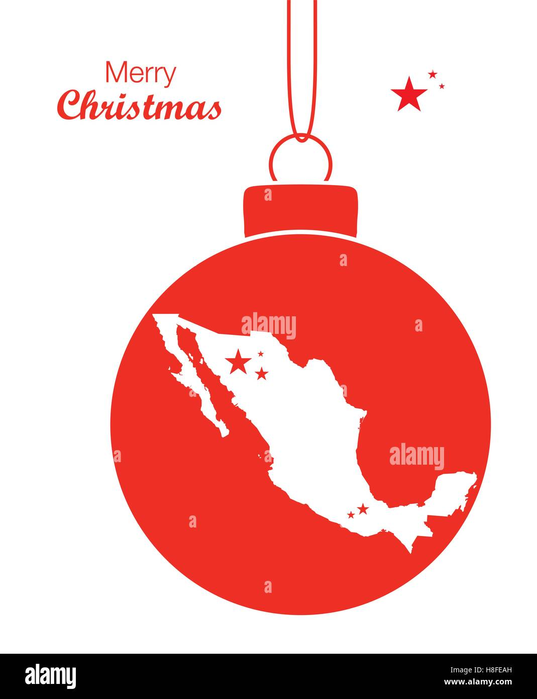 Merry Christmas Map Mexico - Stock Image