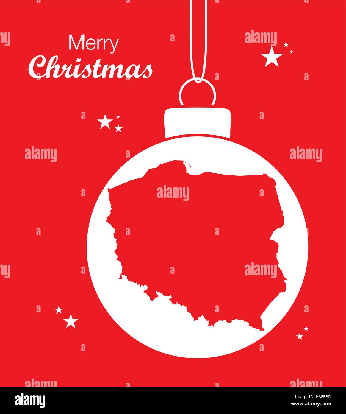 Merry Christmas In Polish.Merry Christmas Map Poland Stock Vector Art Illustration