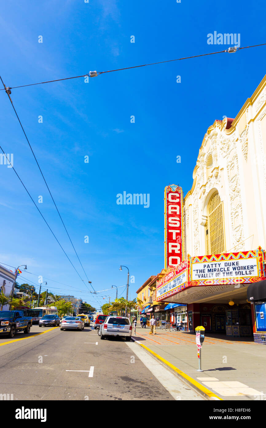 Heart of the Castro District on Castro Street and theater with nearby shops on a sunny, blue sky summer day in the - Stock Image