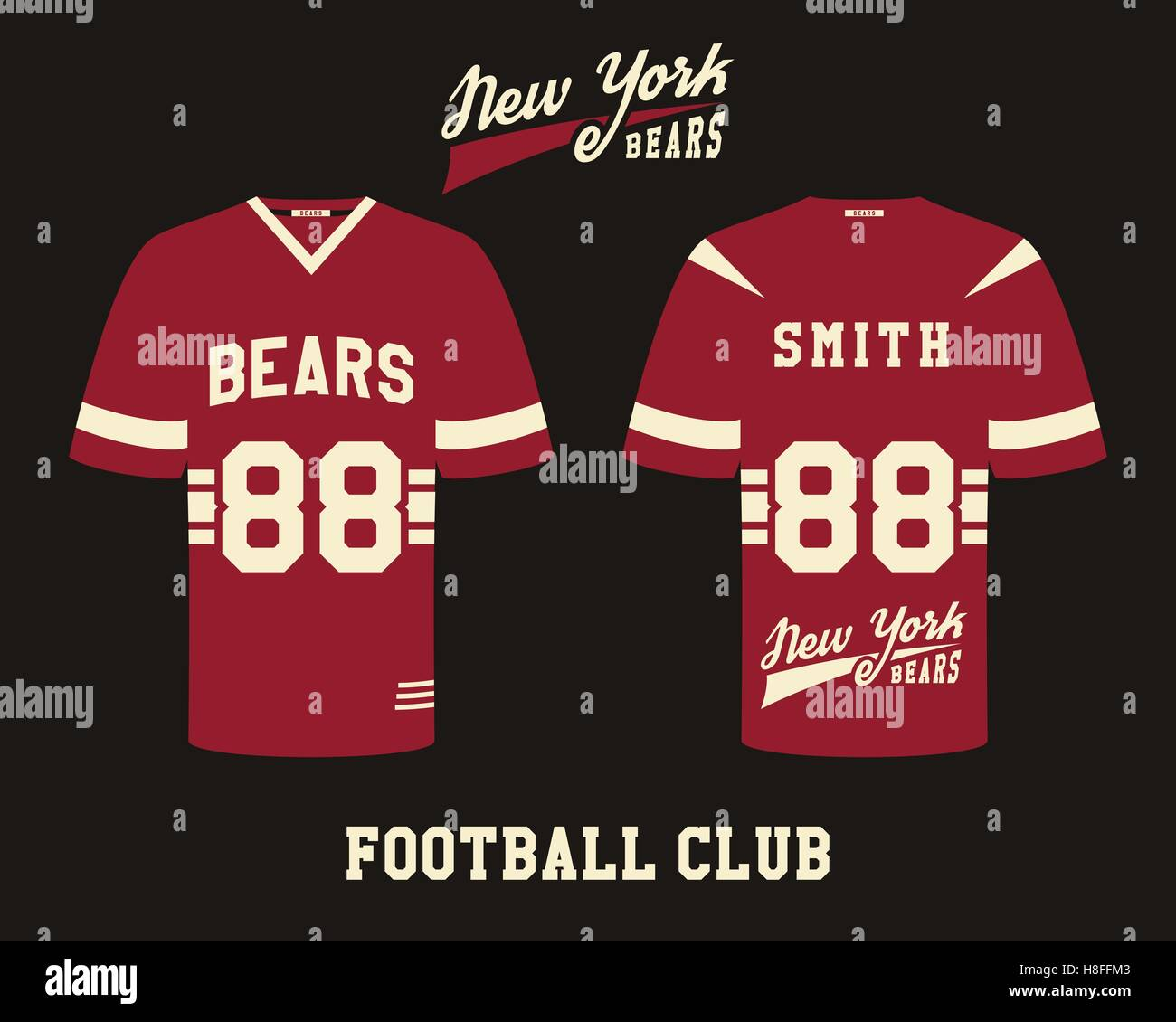 American Football Uniform T Shirt Design With Team Logo Label