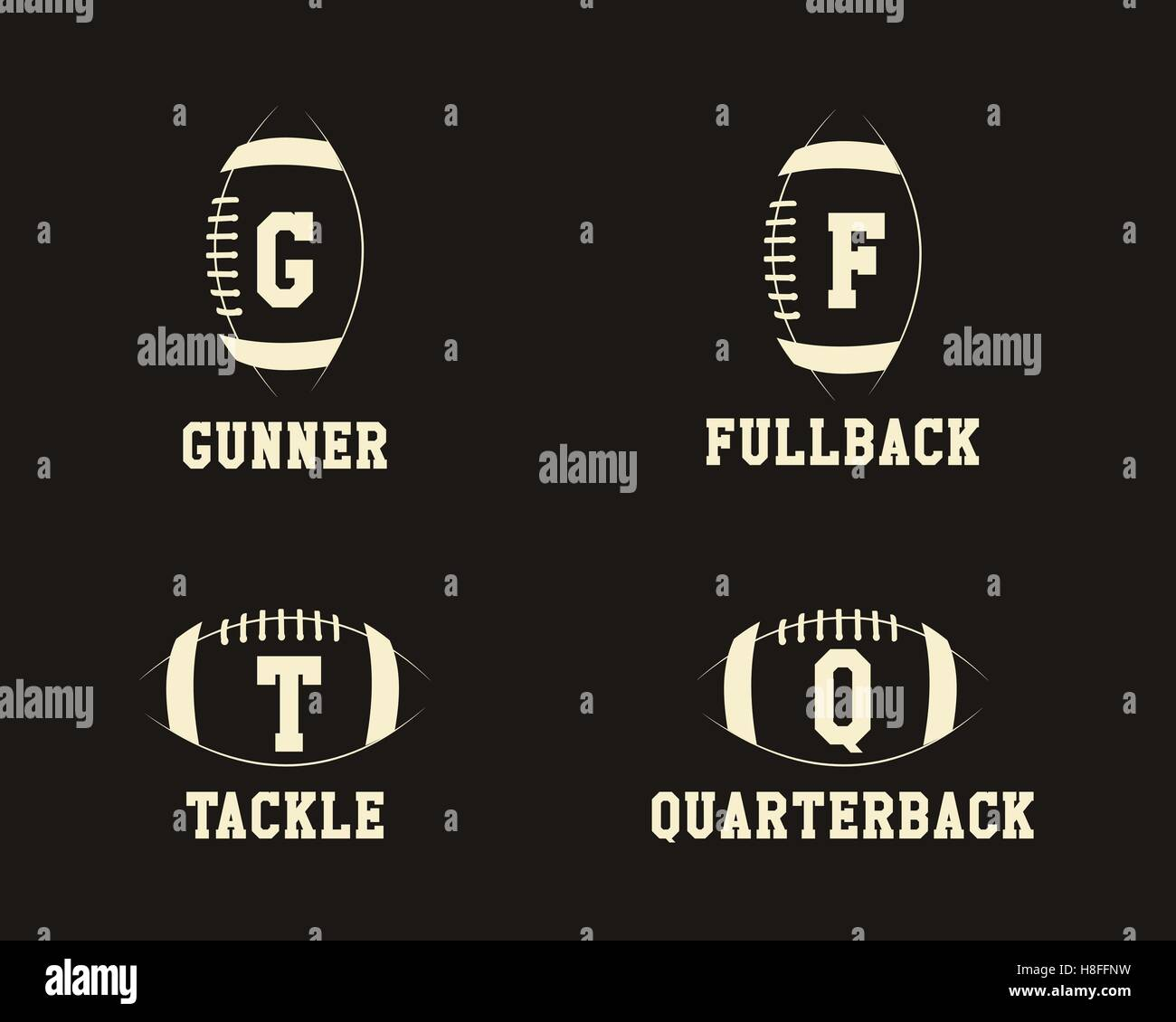 American Football Badge Monograms With Players Positions