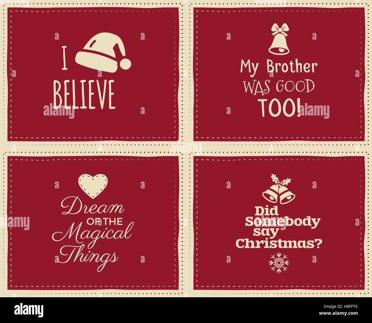 Colorful Christmas Background For Kids.Set Of Christmas Funny Signs Quotes Backgrounds Designs For