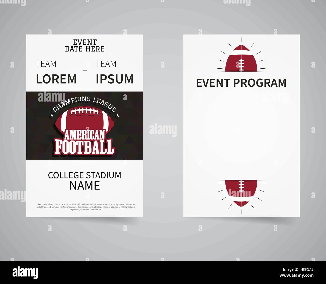 american football back and front flyer template design usa sport