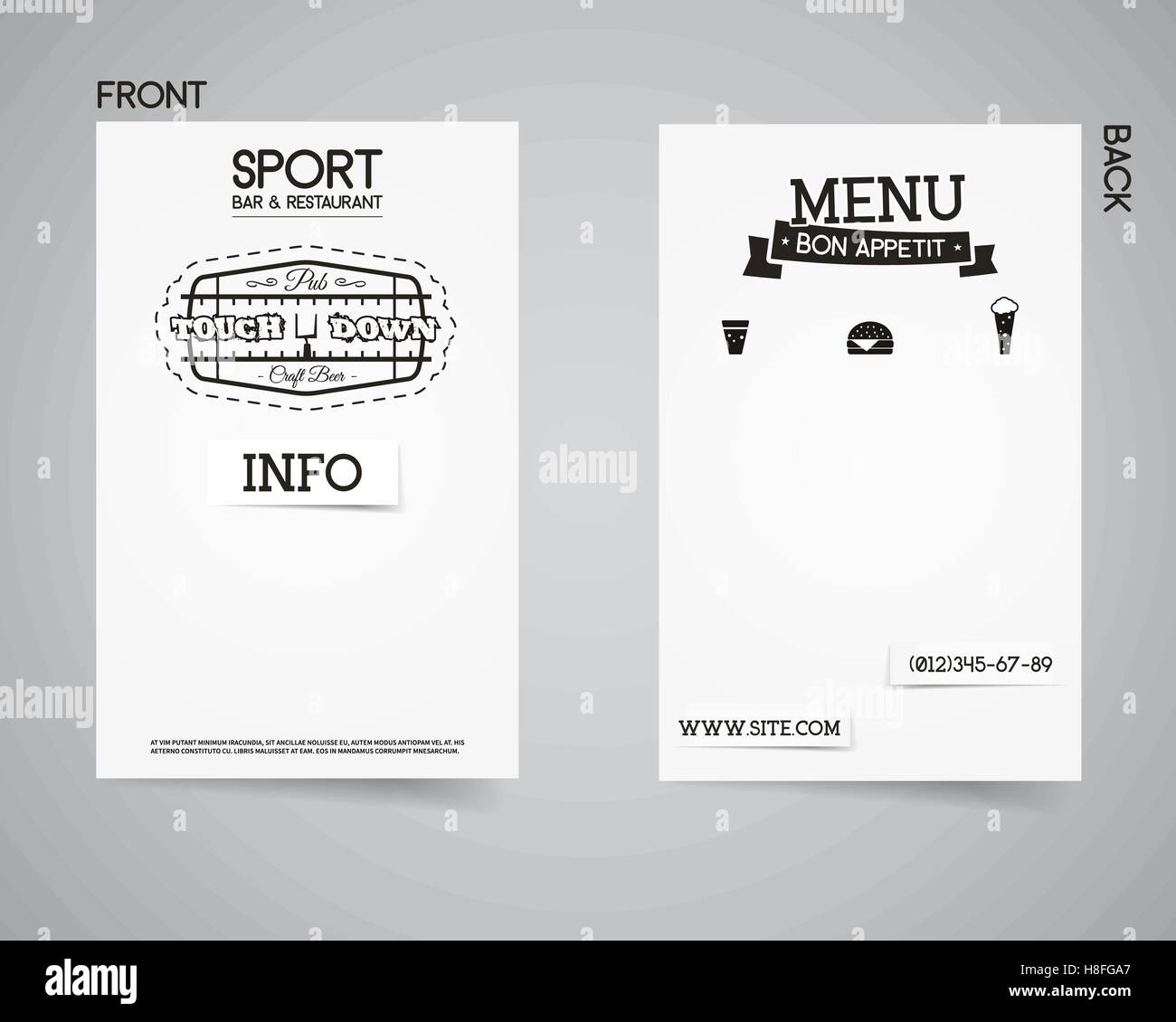 American football back and front pub flyer template design. Usa ...