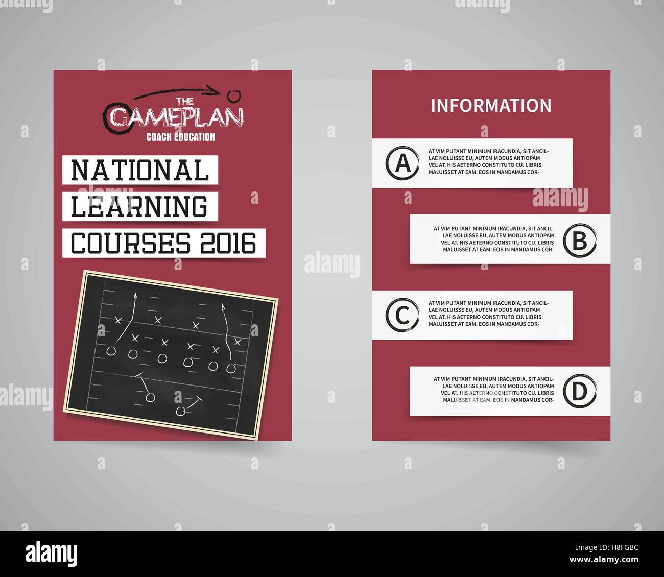 American football coach courses back and front flyer template design ...