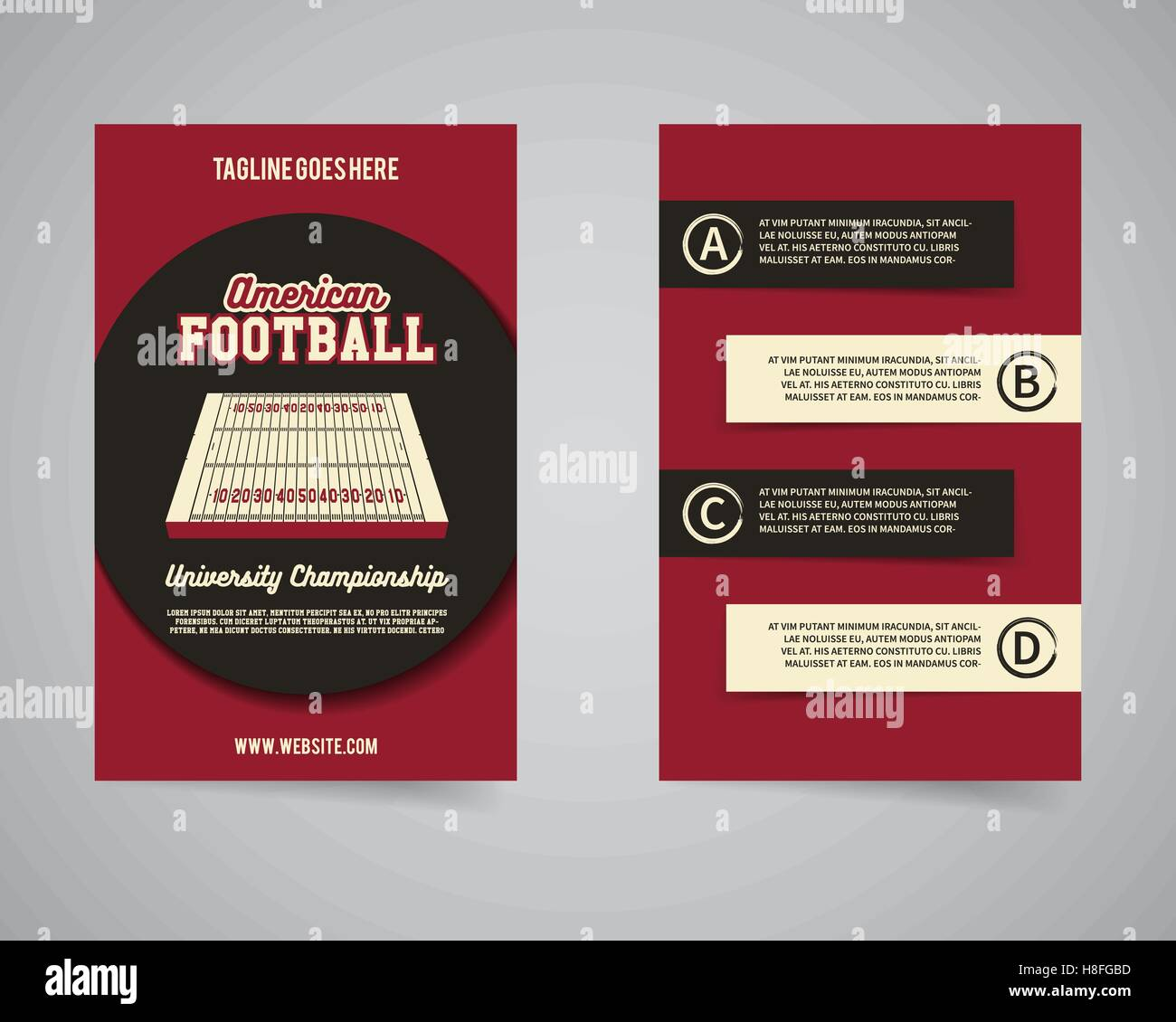 american football championship back and front flyer template design