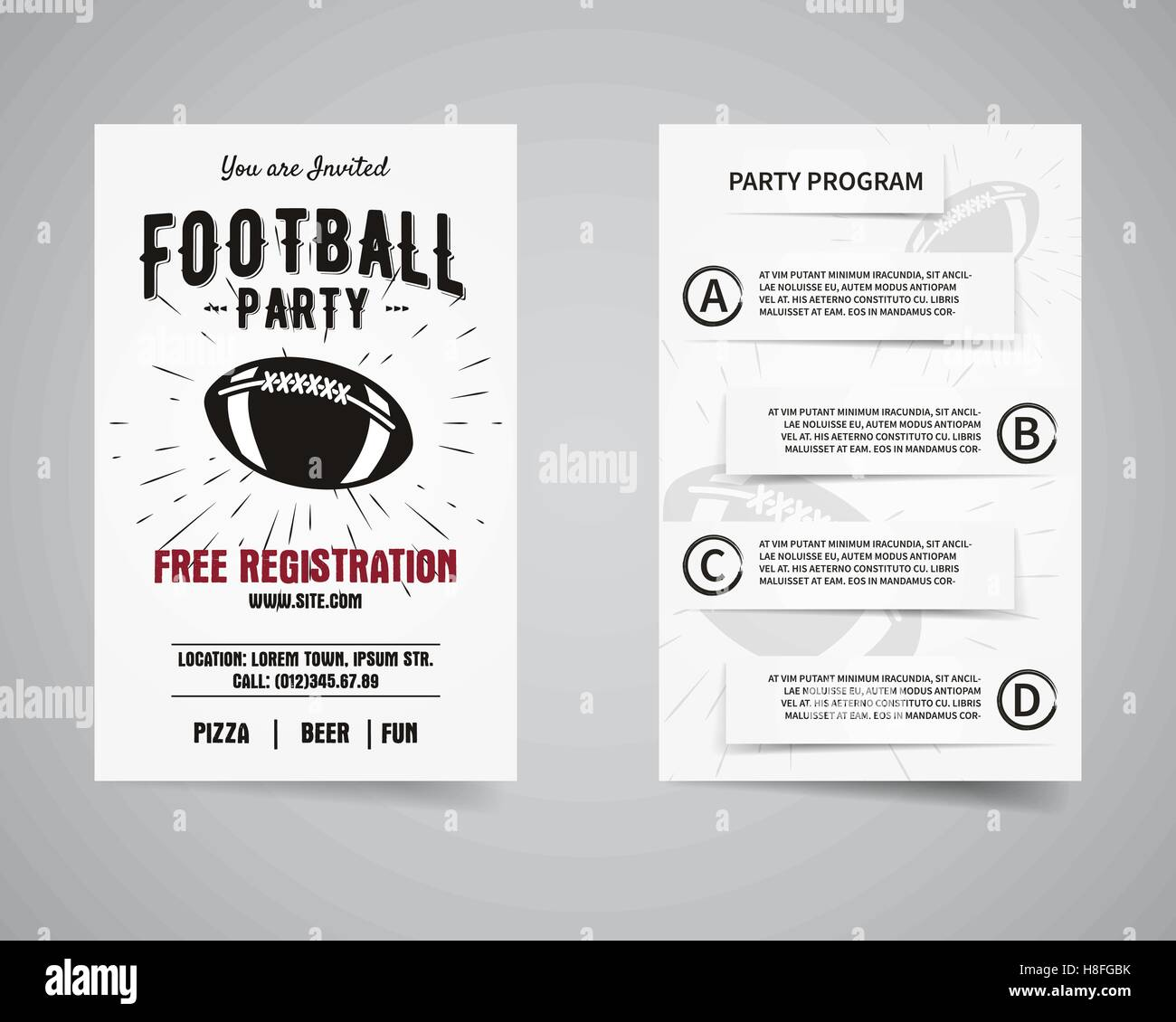 American Football Party Back And Front Flyer Template Design Stock