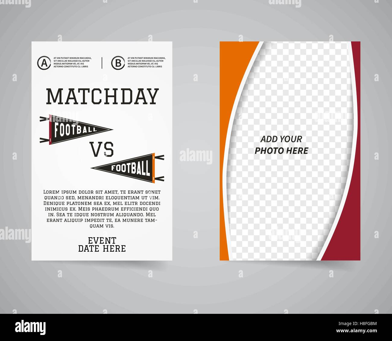 American football matchday back and front flyer template design. Usa ...