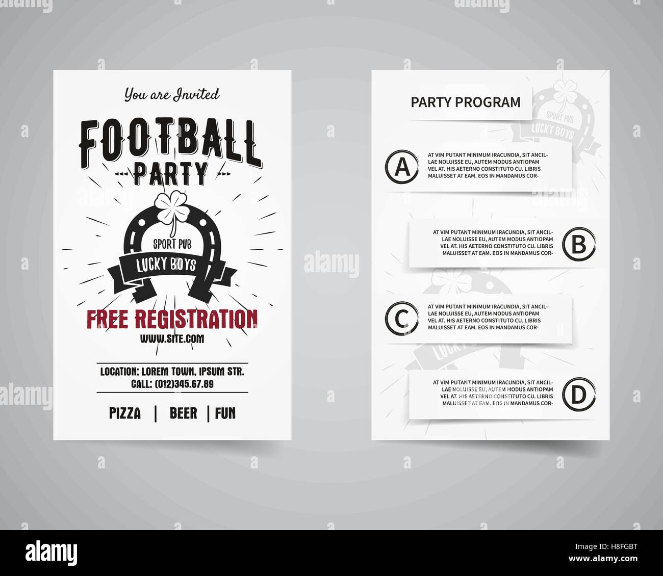 american football party back and front flyer template design usa sport brand identity letterhead event poster brochure and banner with typography