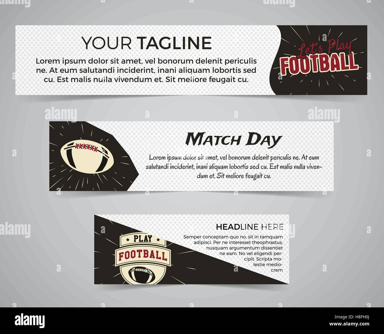 Set of American football banner template with soccer logo, label and ...