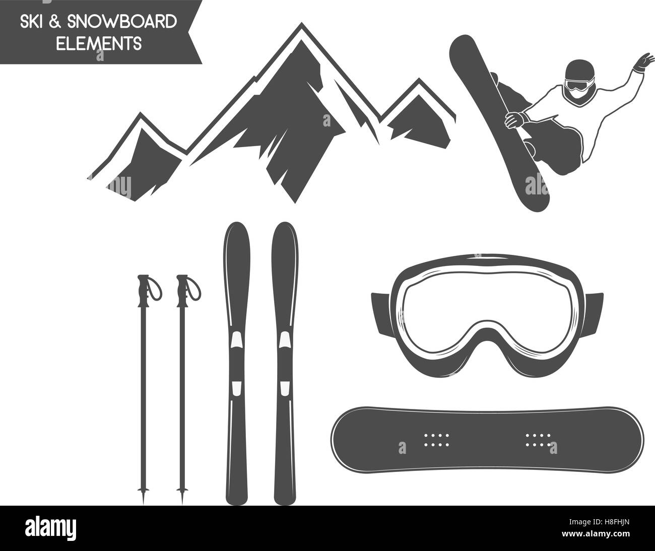 1c48d71e58ec Winter sports elements. Snowboard