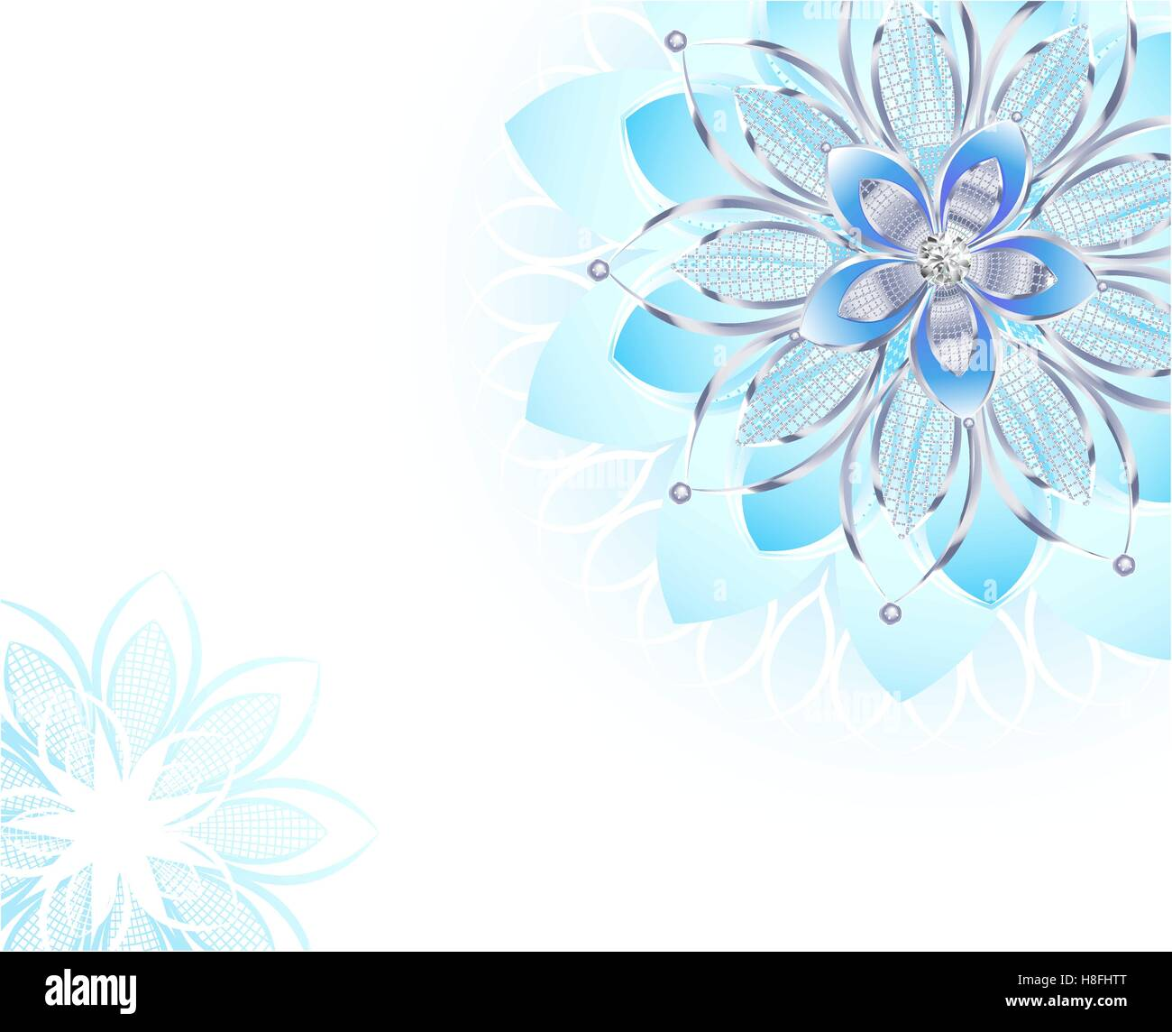 Abstract Light Blue Flower Jewelry From Sparkling Silver On A White Background