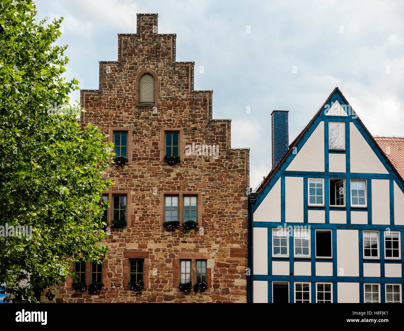 The Steinhaus in small medieval town Frankenberg Eder, Germany. Built in 1240 - Stock Image
