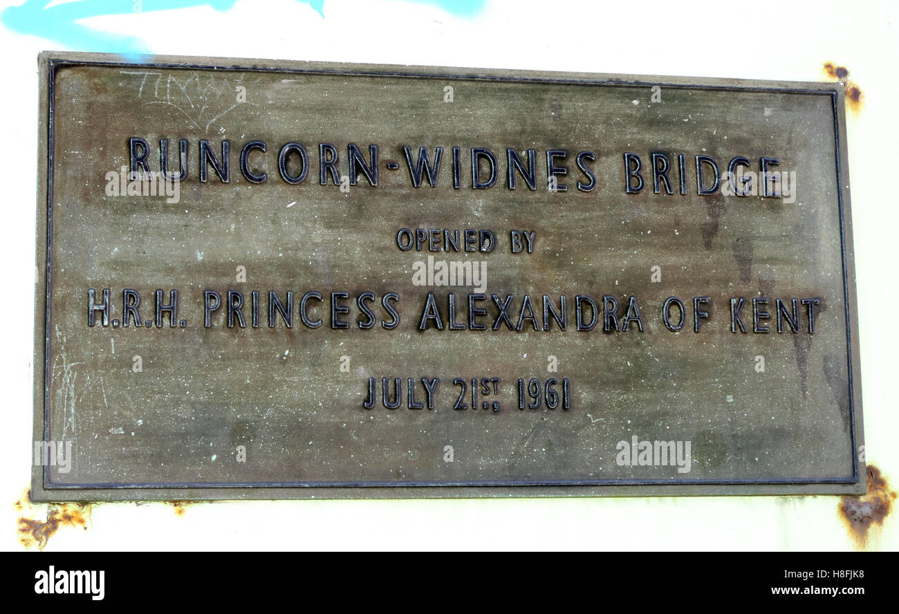 Runcorn to Widnes Silver Jubilee road bridge plaque, A533, Halton, Cheshire, England, UK - Stock Image