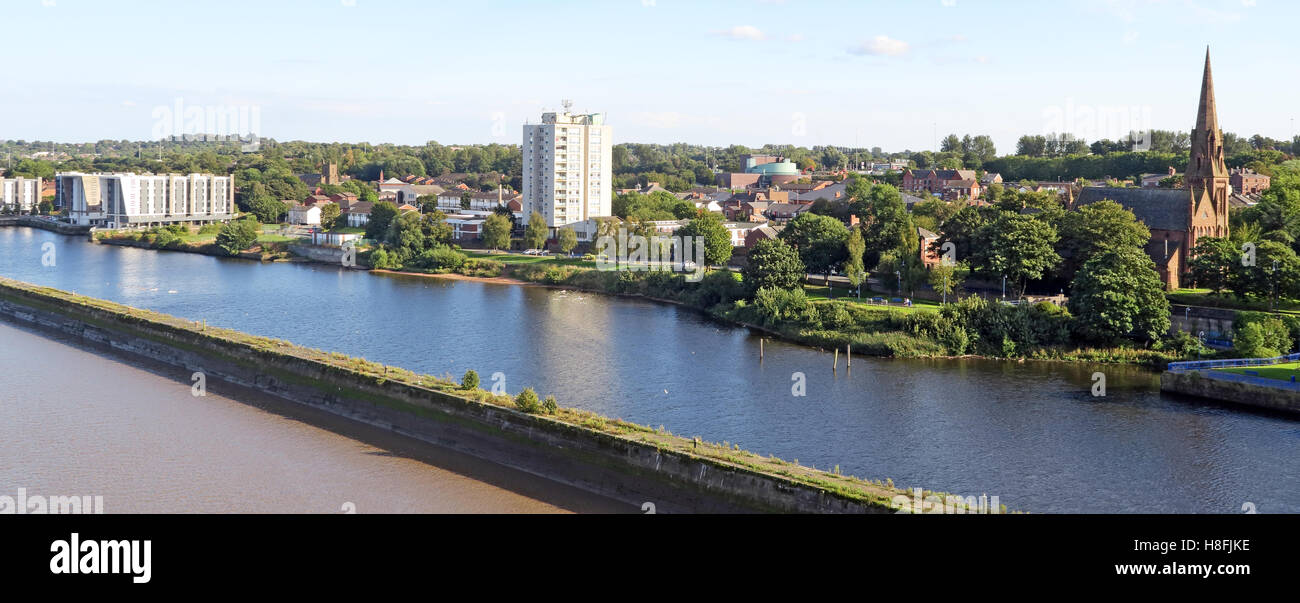 Runcorn panorama from old Runcorn Bridge, Halton, Cheshire, England, UK - Stock Image