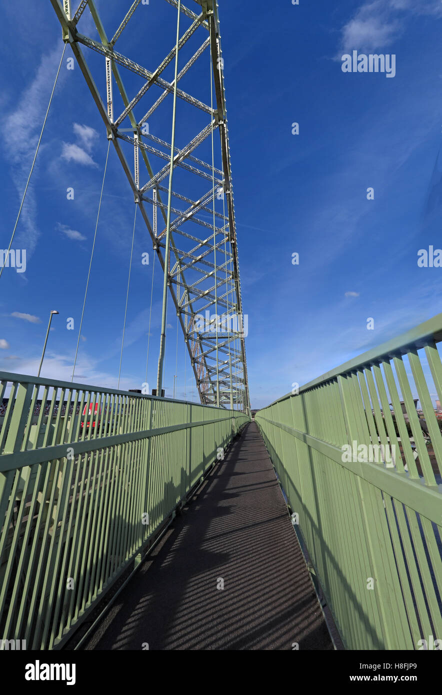 Runcorn to Widnes Silver Jubilee road bridge walkway, A533, Halton, Cheshire, England, UK - Stock Image