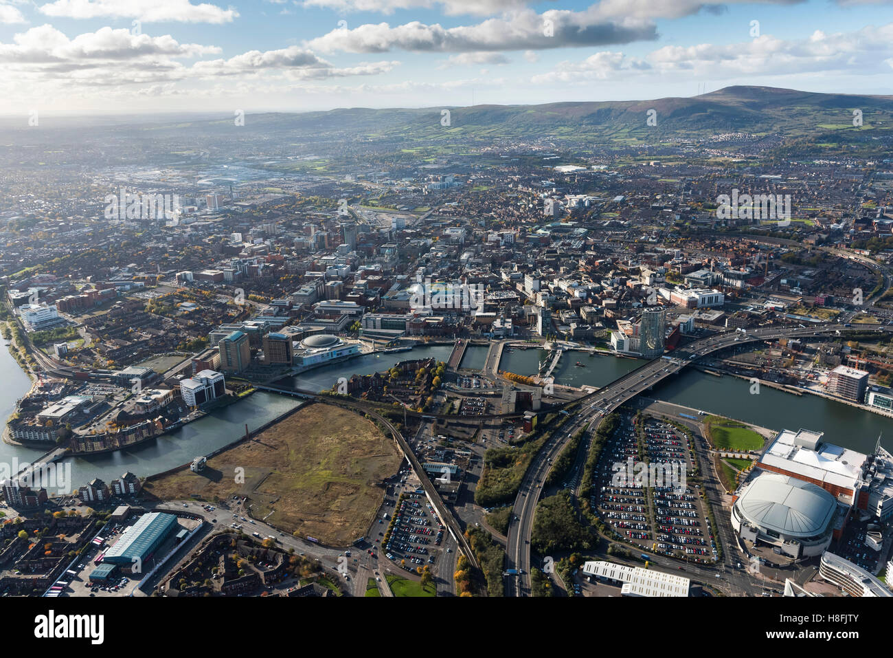 Belfast November 2016 aerial city centre Stock Photo