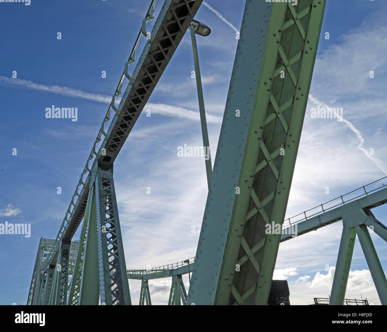 Architecture of Runcorn to Widnes Silver Jubilee road bridge, A533, Halton, Cheshire, England, UK - Stock Image