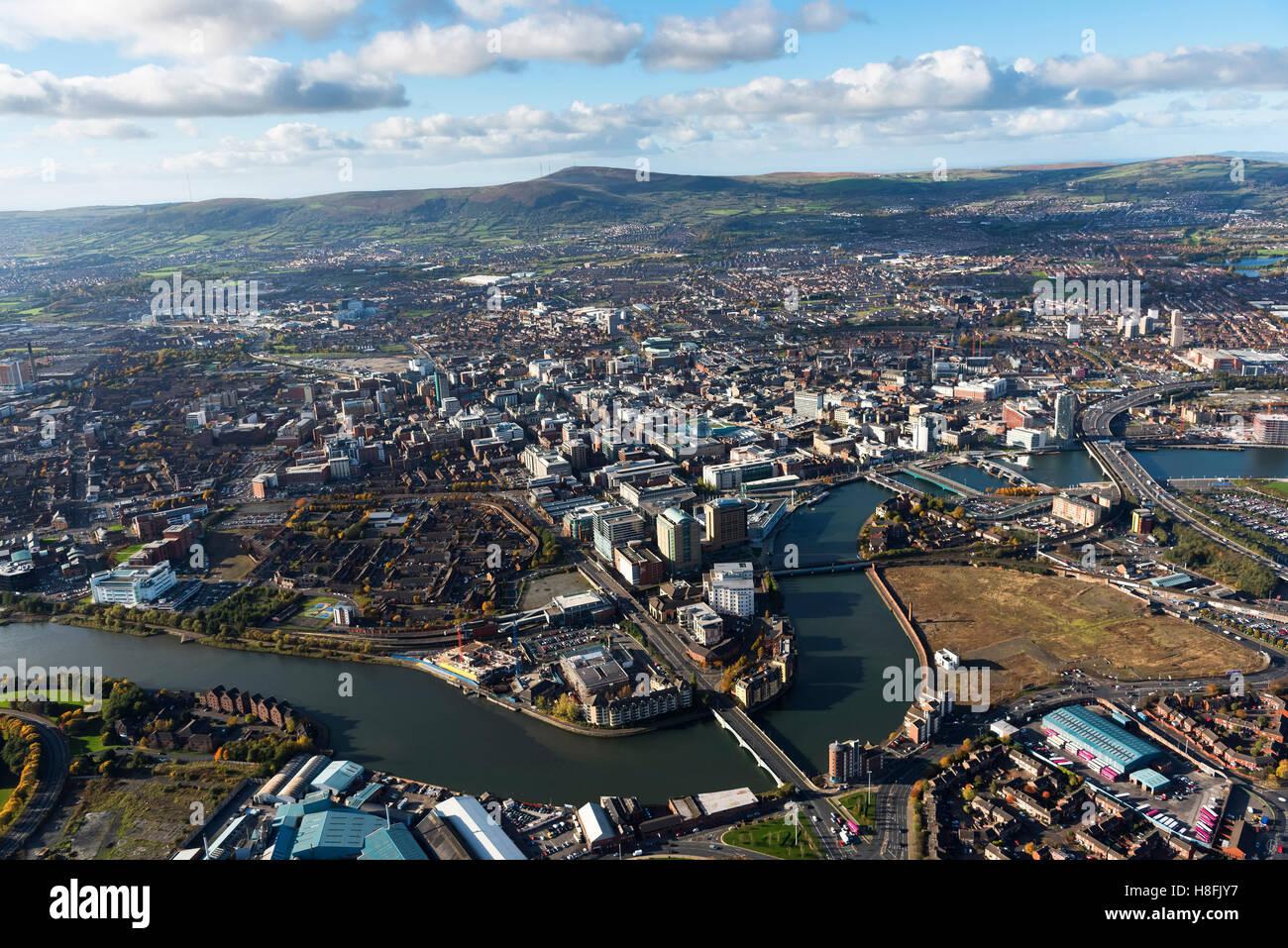 Belfast November 2016 aerial city centre Stock Photo